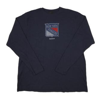 New York Rangers Reebok Navy Long Sleeve Thermal Shirt (Adult L)