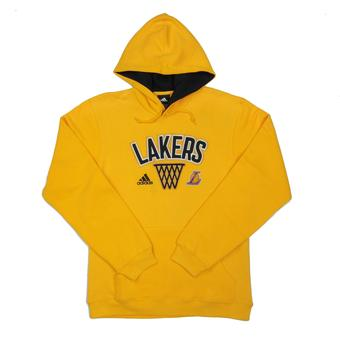Los Angeles Lakers Adidas Yellow Playbook Fleece Hoodie (Adult M)