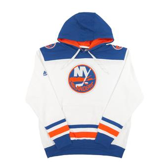 New York Islanders Majestic Beige Vintage Double Minor Fleece Hoodie