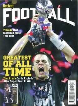 2017 Beckett Football Monthly Price Guide (#315 April) (Tom Brady G.O.A.T.)