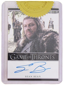 Game of Thrones Season One Sean Bean as Ned Stark Autographed Card (Rittenhouse 2012)