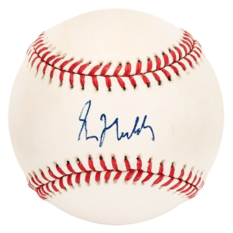 Greg Maddux Autographed Chicago Cubs National League Baseball (Press Pass) MT
