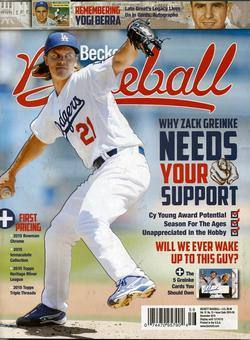 2015 Beckett Baseball Monthly Price Guide (#117 December) (Zack Greinke)