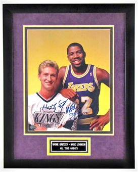 Wayne Gretzky & Magic Johnson Autographed Framed 11x14 Photo (Steiner)