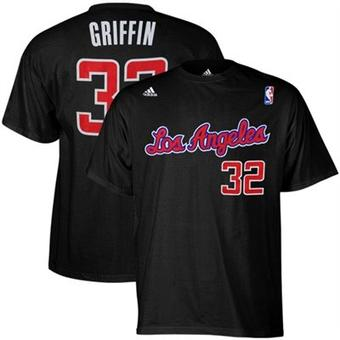 Blake Griffin Los Angeles Clippers Black Adidas Net T-Shirt (Size Large)