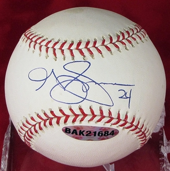 Grady Sizemore Autographed Baseball (Slightly Stained) (UDA COA)