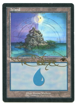 Magic the Gathering Promo Single GURU Island ARTIST SIGNED - MODERATE PLAY (MP)