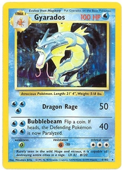 Pokemon Base Set 1 Single Gyarados 6/102 - SLIGHT PLAY (SP)