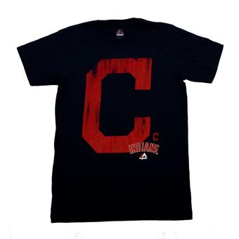 Cleveland Indians Majestic Navy Takin' Em To School Tee Shirt (Adult XL)