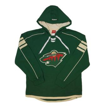 Minnesota Wild Reebok Green Lace Up Fleece Jersey Hoodie (Adult S)