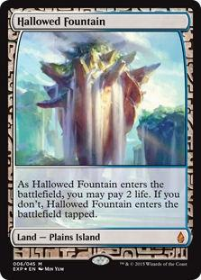 Magic the Gathering Zendikar Expedition Single Hallowed Fountain Foil NEAR MINT (NM)