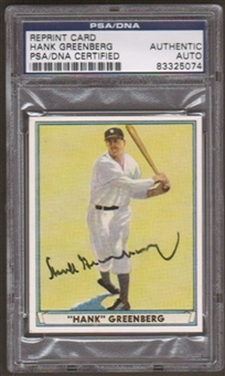 1941 Playball Reprint Hank Greenberg Autographed Card PSA Slabbed (5074)