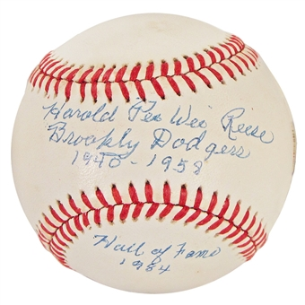 Pee Wee Reese Autographed MLB Official Baseball w/Inscriptions (PSA)