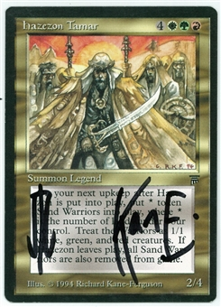 Magic the Gathering Legends Single Hazezon Tamar - SLIGHT PLAY (SP) Artist Signed