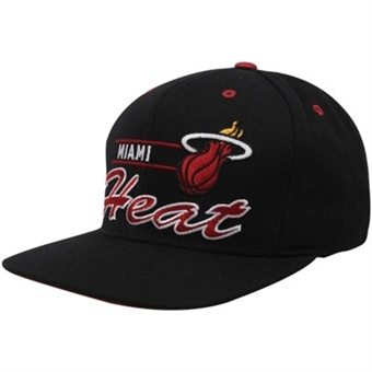 Miami Heat Adidas Black Grind Snapback Adjustable Hat (One Size Fits All)