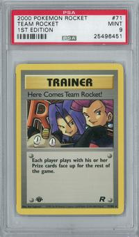 Pokemon Team Rocket 1st Edition Here Comes Team Rocket Holo Rare PSA 9