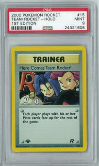 Pokemon Team Rocket Single Here Comes Team Rocket! 15/82 1st Edition - PSA 9