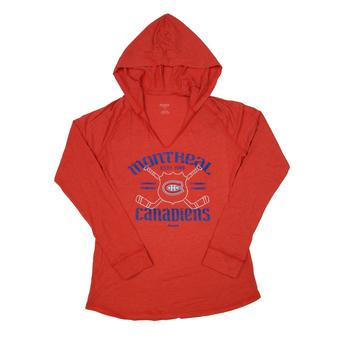 Montreal Canadiens Reebok Heather Red Long Sleeve Hooded Tee Shirt (Womens L)