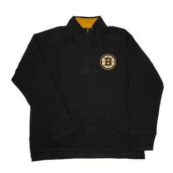 Boston Bruins Old Time Hockey Boles Black 1/4 Zip Fleece Crew (Adult XL)