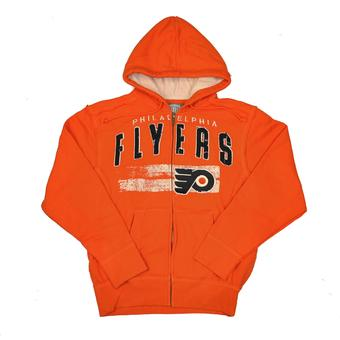 Philadelphia Flyers Old Time Hockey Sumner Orange Full Zip Hoodie (Adult M)