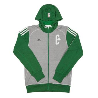 Boston Celtics Adidas Heather Grey & Green Pre-Game Full Zip Fleece Hoodie (Adult S)