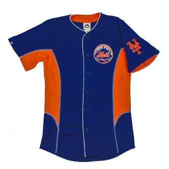 New York Mets Majestic Royal & Orange Team Leader Button Up Jersey (Adult L)