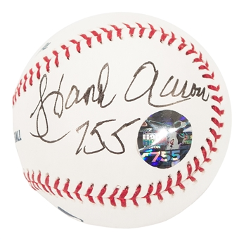 "Hank Aaron Autographed Atlanta Braves Official MLB Baseball w/""755"" Inscrip. (Steiner)"