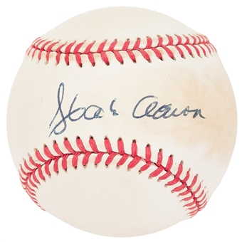 Hank Aaron Autographed Rawlings National League MLB Baseball (JSA) Y19031