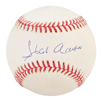 Hank Aaron Autographed Official Major League Baseball (Scoreboard COA)