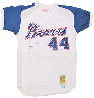 Hank Aaron Autographed Atlanta Braves Throwback White Jersey (UDA COA)