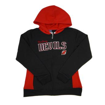 New Jersey Devils Reebok Black & Red Full Zip Fleece Hoodie (Womens S)