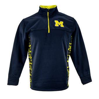 Michigan Wolverines Colosseum Navy Oil Slick 1/4 Zip Performance Fleece (Adult L)