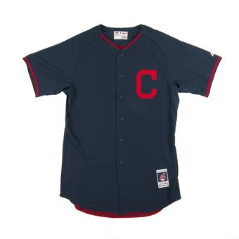 Cleveland Indians Majestic Navy BP Cool Base Performance Authentic Jersey (Adult 52)