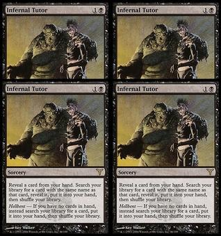 Magic the Gathering Dissension 4x PLAYSET Infernal Tutor - SLIGHT PLAY (SP)