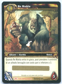 World of Warcraft Single King Mukla ITALIAN LOOT CARD - UNSCRATCHED