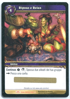 World of Warcraft Single Rest and Relaxation ITALIAN LOOT CARD - UNSCRATCHED