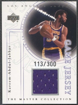 2000 Upper Deck Lakers Master Collection Game Jerseys #KAJ Kareem Abdul-Jabbar 113/300