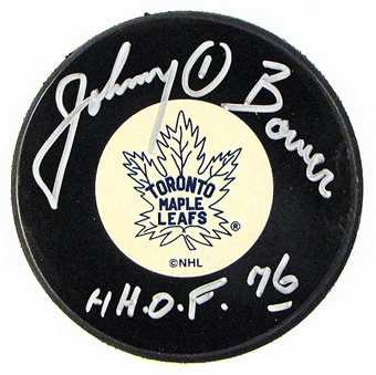 Johnny Bower Autographed Toronto Maple Leafs Hockey Puck Icebox COA