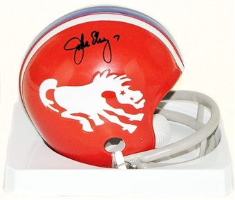 John Elway Autographed Denver Broncos Throwback Mini Football Helmet (Orange)