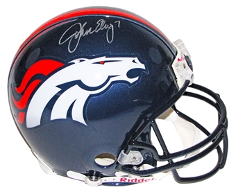 John Elway Autographed Denver Broncos Full Size On Field Helmet (Mounted Memories)