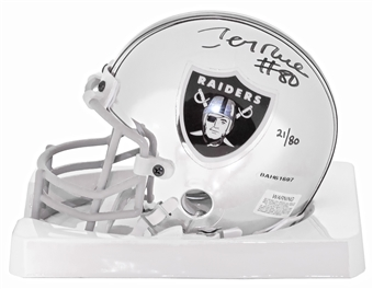 Jerry Rice Autographed Oakland Raiders Limited Ed. #21/80 Chrome Mini Helmet (UDA)
