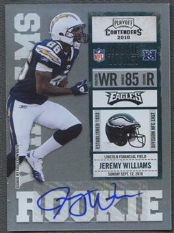 2010 Playoff Contenders #148 Jeremy Williams /194 Rookie Autograph