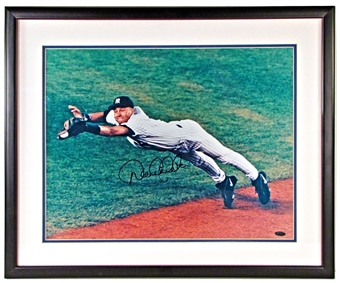 "Derek Jeter Autographed NY Yankees Framed 16x20 ""Diving"" Photo (Steiner)"