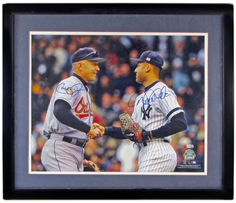 Derek Jeter & Cal Ripken Jr. Autographed and Framed 16x20 Photo (Steiner)