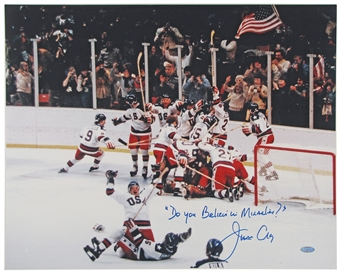 "Jim Craig Autographed Team USA ""Miracle on Ice"" 16X20 Photo (Steiner)"
