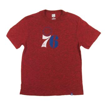 Philadelphia 76ers Majestic Heather Red Hours and Hours Dual Blend Tee Shirt (Adult L)