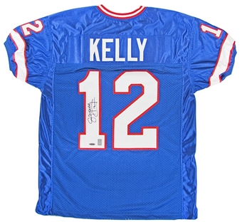 Jim Kelly Autographed Buffalo Bills Football Blue Jersey Tristar COA