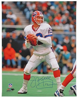 Jim Kelly Autographed Buffalo Bills White Jersey 16x20 Football Photo