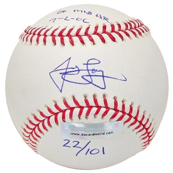 James Loney Autograph Baseball w/1st HR inscrip(Slightly Stained)(DACW COA)