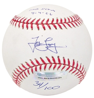 James Loney Autograph Baseball w/Debut inscrip (Slightly Stained)(DACW COA)